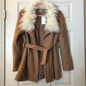 Tobi Florence Mocha Faux Feather Trim Jacket